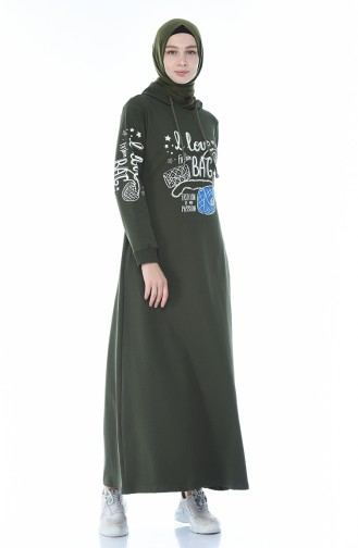 فستان رياضي مزين بالستراس كاكي 4086-04