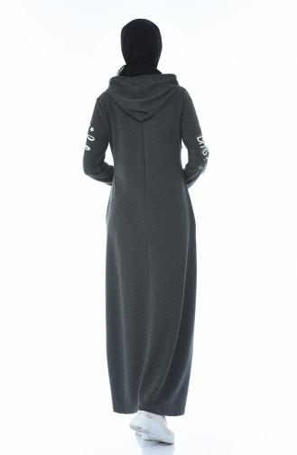 فستان رياضي مزين بالستراس رمادي 4086-05