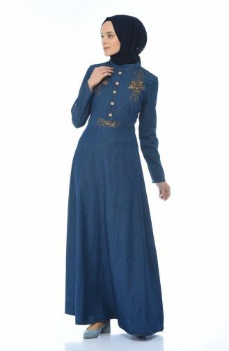 Robe Jean Brodée 88571-01 Bleu marine 88571-01