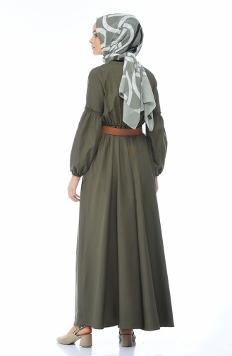 Belted Shirred Dress Khaki 1039-03