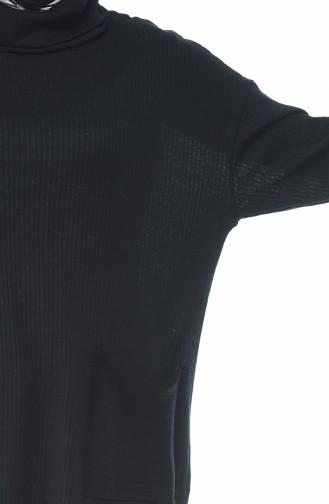 Rollkragen Tunika mit Tasche 4412-01 Schwarz 4412-01