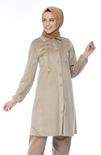 Velvet Buttoned Tunic Beige 0433-03