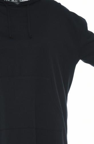 تونيك بقبعة أسود 4420-04