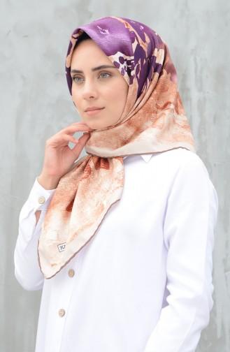 Karaca Synthetic Silk Twill Scarf Brown Beige 90598-10