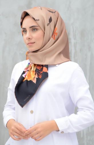 كاراجا وشاح حرير صناعي مخطط بني وأسود 90599-04