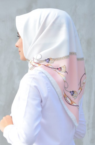Karaca Synthetic Silk Twill Scarf Gray White 90601-06