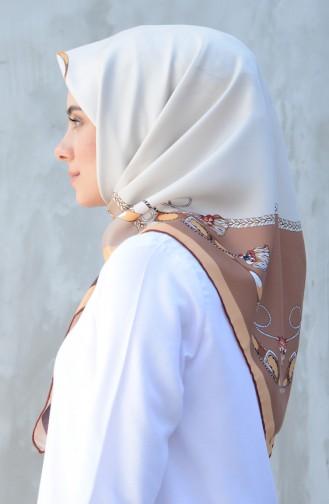 Karaca Sentetik İpek Twill Eşarp 90601-09 Kahverengi Sarı 90601-09