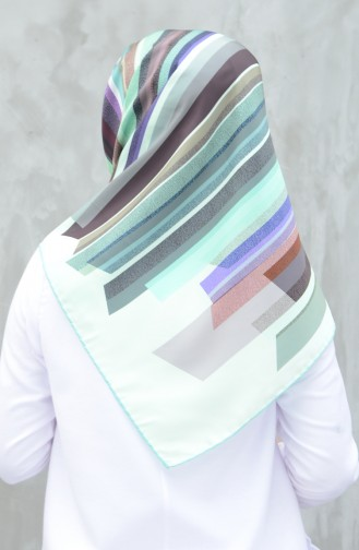 Karaca Synthetic Silk Twill Scarf Green Water Green 90603-03