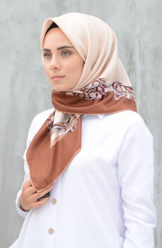 Karaca Synthetic Silk Twill Scarf Brown 90604-12