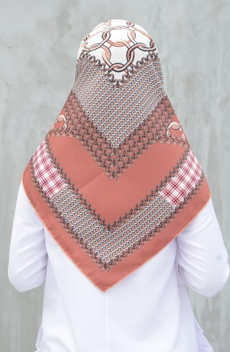Karaca Synthetic Silk Twill Scarf Salmon Brick 90605-10