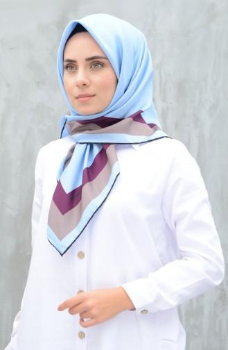 كاراجا وشاح حرير صناعي أزرق سماوي 90606-16