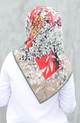 Karaca Desenli Rayon Eşarp 90607-04 Haki Kırmızı 90607-04
