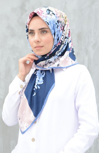 Karaca Desenli Rayon Eşarp 90607-08 İndigo Pudra 90607-08