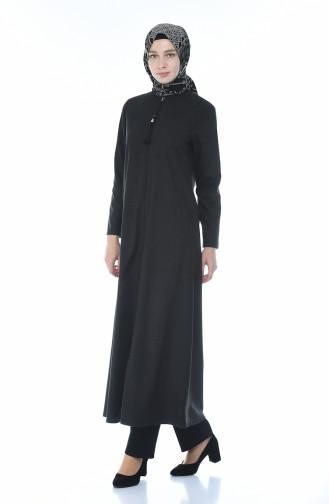 Abaya a Fermeture 2091-02 Noir 2091-02