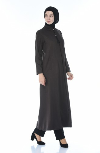Zippered Abaya Brown 2091-03