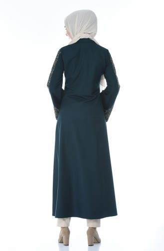 Embroidery Detailed Abaya Emerald Green 2134-03
