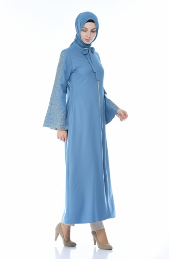 Embroidery Detailed Abaya Blue 2134-07