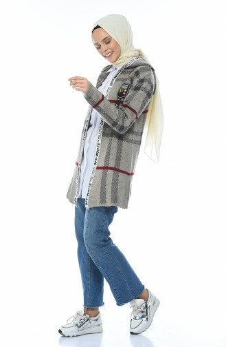 Hooded Tricot Cardigan Mink 1956-01