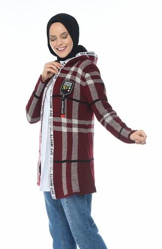 Hooded Tricot Cardigan Burgundy 1956-04