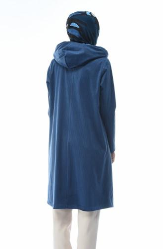 معطف مخمل بقبعة أزرق برلماني 6221-02