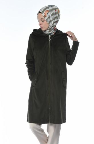 معطف مخمل بقبعة أخضر داكن 6221-05