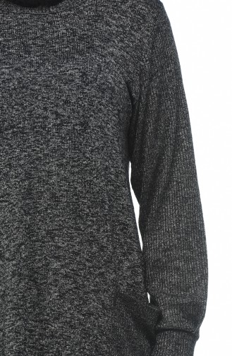 Big Size Pocket Tricot Sweater Black 8002-02