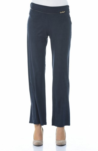 Suede Wide Trousers Navy Blue 5K1500500-03