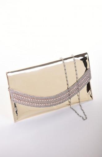 حقيبة سهرة نسائية جلد لامع ذهبي 0348-04
