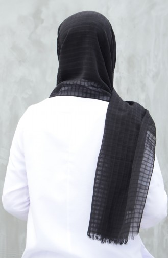 شال قطني منسوج أسود 99246-01