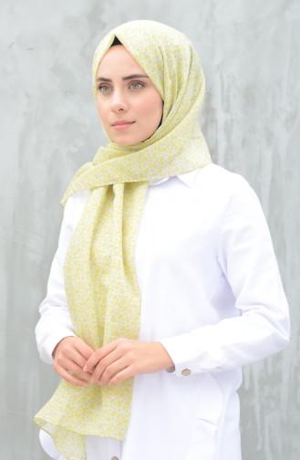 Desenli Pamuk Şal 99250-01 Yeşil Gri 99250-01