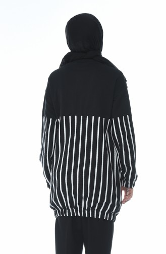 Fermuarlı Garnili Sweatshirt 1586-01 Siyah 1586-01