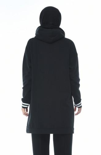 Baskılı Sweatshirt 1588-01 Siyah 1588-01