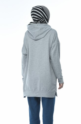 Kapüşonlu Sweatshirt 6388-02 Gri