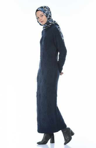 Triko Elbise 0930-01 Lacivert 0930-01
