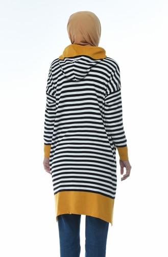 Thin Tricot Striped Tunic Mustard 1350-03