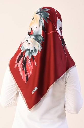 Karaca Gemustertes Rayon Kopftuch 90608-10 Weinrot 90608-10