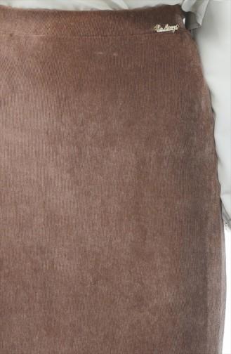 Kadife Balık Etek 6K2601413-01 Sütlü kahve
