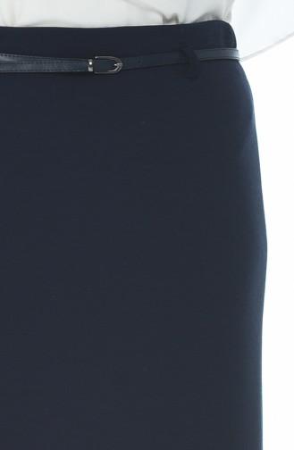 Jupe Crayon a Ceinture 8K2809200-01 Bleu Marine 8K2809200-01