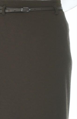 Jupe Crayon a Ceinture 8K2809200-02 Vison Foncé 8K2809200-02