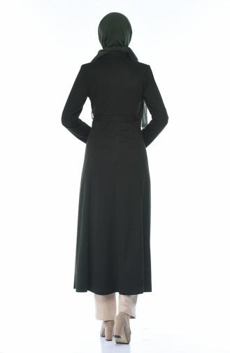 Zippered Belted Abaya Khaki 8213-01