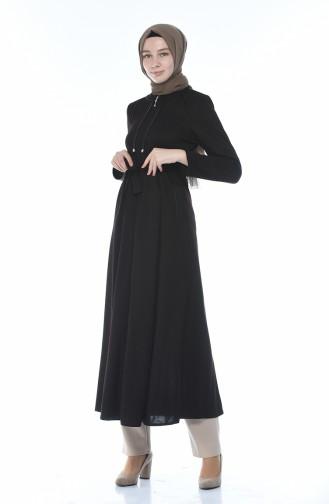 عباءة بحزام وسحاب بني 8213-03