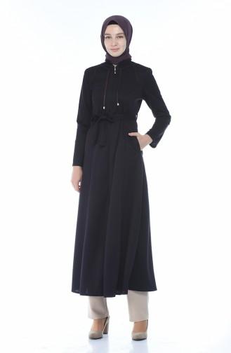 Zippered Belted Abaya Purple 8213-04