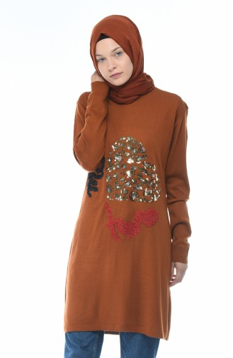 Sequined Tricot Sweater Brown 1114-01