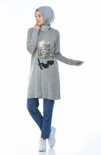 Sequined Tricot Sweater Gray 1114-03