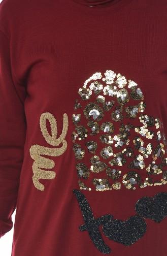 كنزة تريكو مزينة بالترتر أحمر كلاريت 1114-04