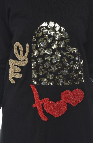 Sequined Tricot Sweater Black 1114-06