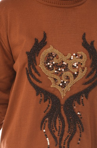 Sequined Tricot Sweater Brown 1901-02