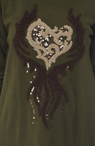 Sequined Tricot Sweater Khaki Green 1901-07