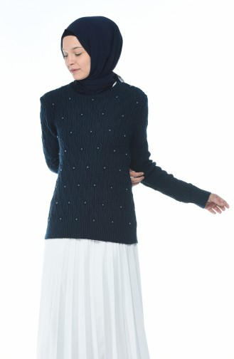 Tricot Pearl Sweater Navy blue 7701-05