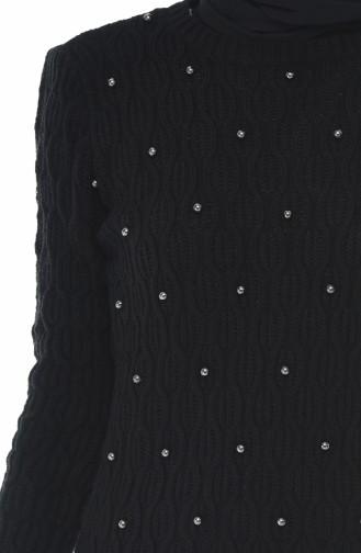 Trikot Perlen Pullover 7701-07 Schwarz 7701-07